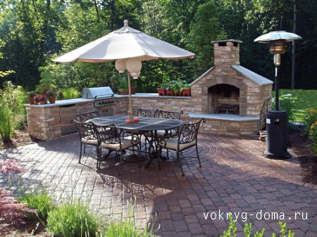 Садовый камин.Романтика красивого сада